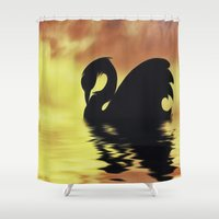 black swan Shower Curtains featuring Black Swan by Imagevixen