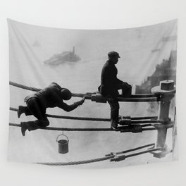 Brooklyn Bridge Painters Vintage Photograph (1915) Wall Tapestry