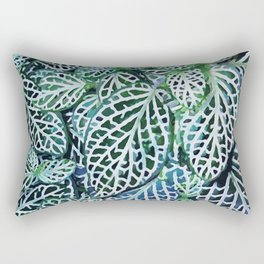 Tropical Leaves Fittonia Nerve Plant #watercolor #decor #society6 #pattern Rectangular Pillow