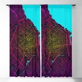 Buenos Aires City Map of Argentina - Neon Blackout Curtain
