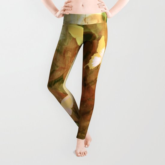 Vintage Autumn Painterly Butterflies  Leggings