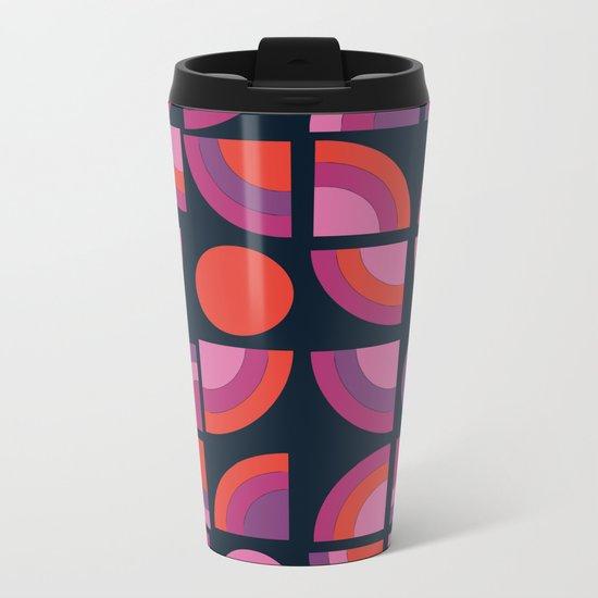 Outta Sight - 70s retro throwback trendy vintage style geometric 1970's Metal Travel Mug