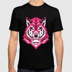 Geometric wolf Mens Fitted Tee MEDIUM Black