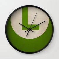 luigi Wall Clocks featuring Luigi by Jynxit