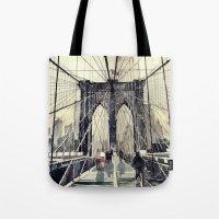 bridge Tote Bags featuring Brooklyn Bridge by takmaj