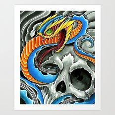 blue viper skull Art Print