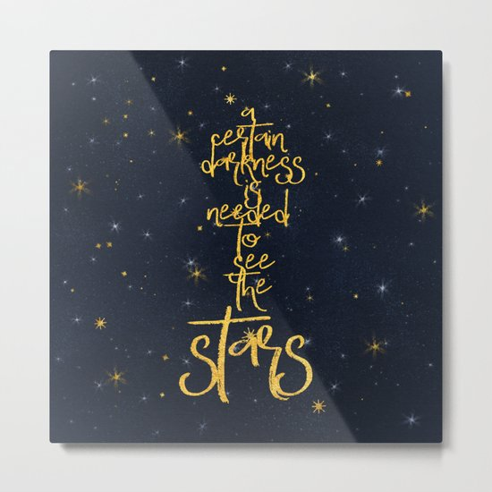 Darkness-Stars - sparkling night gold glitter effect typography on #Society6 Metal Print