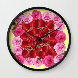 Strawberries  Art Design Pink Roses Yellow Wall Clock