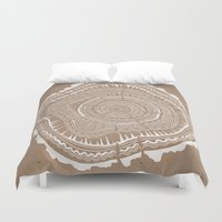 tree rings Duvet Covers featuring Tree Rings – White Ink on Kraft by Cat Coquillette