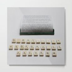 Scrabble Typewriter Metal Print