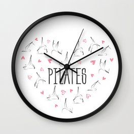 Pilates poses in shape of a heart Wall Clock