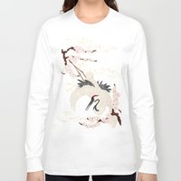 crane Long Sleeve T-shirts featuring Japanese Crane by Luna Kirsche
