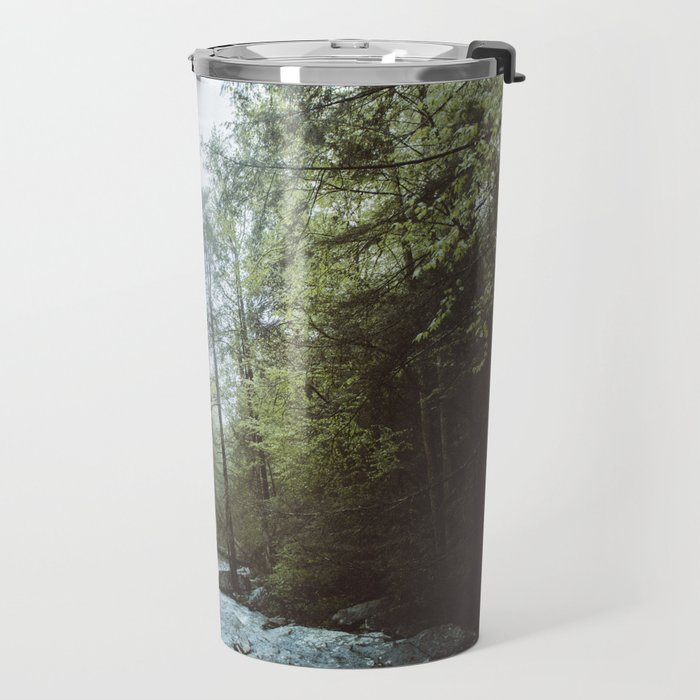 Peaceful Forest, Green Trees and Creek, Relaxing Water Sounds Travel Mug