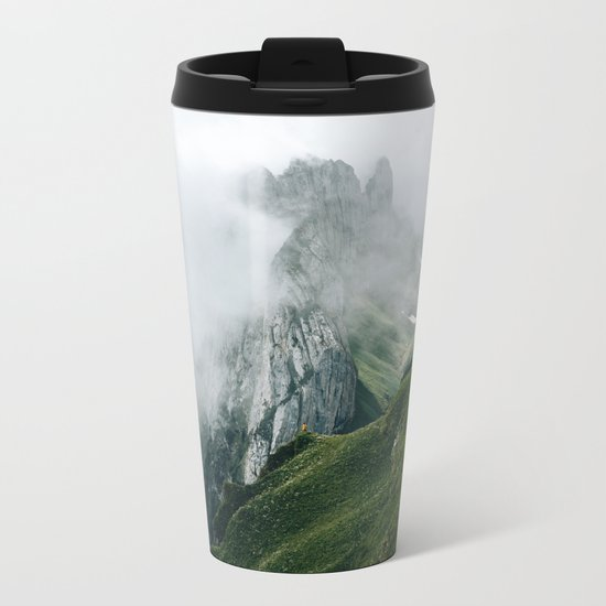 Switzerland Mountain Range in the Clouds - Landscape Photography Metal Travel Mug