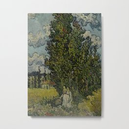 Cypresses and Two Women Metal Print