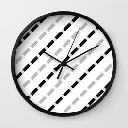 black white gray stripes dashed lines abstract 3d geometric Wall Clock