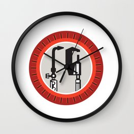 Welding Torch Caliper Isolated Retro Wall Clock