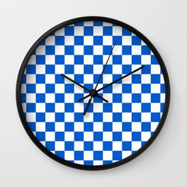 Gingham Brilliant Blue Checked Pattern Wall Clock