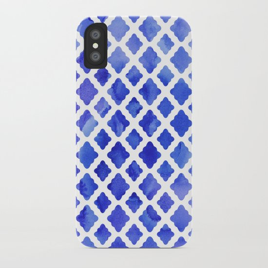 Watercolor Diamonds in Cobalt Blue iPhone Case