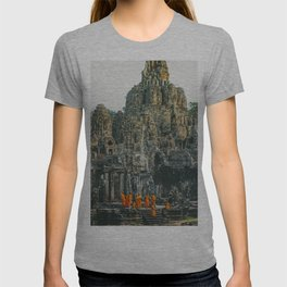 Unidentified Buddist monks from Thailand at one of the temple of Bayon Temple .Buddhism is currently T-shirt