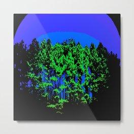 Mod Trees Blue & Green Metal Print
