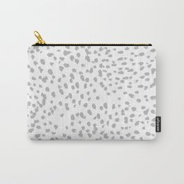 grey spots minimalist decor modern gifts grey and white polka dot brushstroke painting Carry-All Pouch