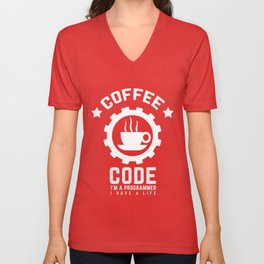 Programmer - Coffee And Code Unisex V-Neck