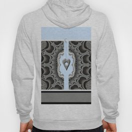 FRACTALS, silver and blue, 3d look, modern abstract Hoody
