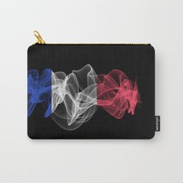 France Smoke Flag on Black Background, France flag Carry-All Pouch