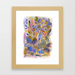 Purple Orchid Floral with Gold Framed Art Print