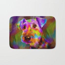 Colorful Airedale Terrier Portrait Bath Mat