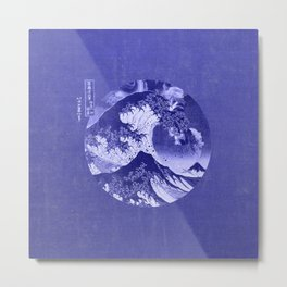 Great Wave Off Kanagawa Blue Metal Print