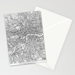 London Map White Stationery Cards