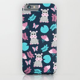 Cute Pink Teal Hippo Floral Butterfly Lily Pad iPhone Case
