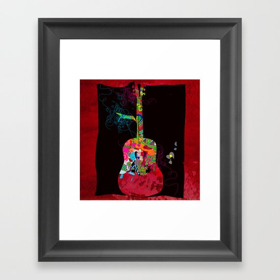 graphic guitar Framed Art Print