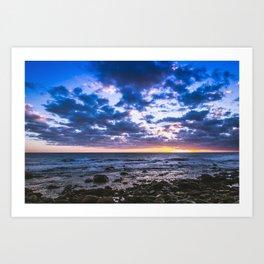 Sunset rock landscape Art Print