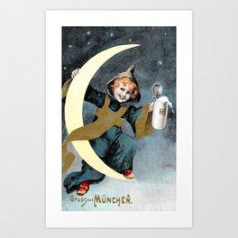 Munchen Kinder(child) holding onto both a Quarter Moon & a beer mug Art Print