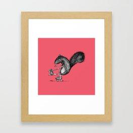 Ride On Squirrel_pink Framed Art Print