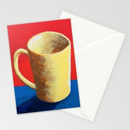 The Morning Cup of Coffee by Mike Kraus - art red blue yellow Caffè Americano Café Latte Cappuccino Stationery Cards