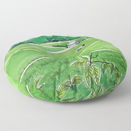 Tending Paddy in the Valley Floor Pillow