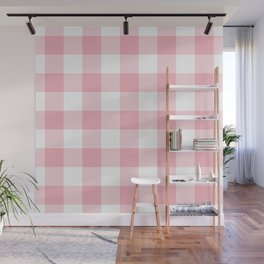Coral Gingham Pattern Wall Mural