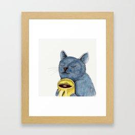 Cat and coffee watercolor, blue cat mug, cat painting, kitty art Framed Art Print