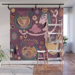 The Bird Lady Cometh, plum mauve version Wall Mural