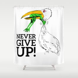 T-shirt never give up stork and frog T-Shirt Shower Curtain