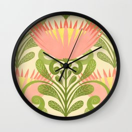 King Protea Flower Pattern - yellow Wall Clock