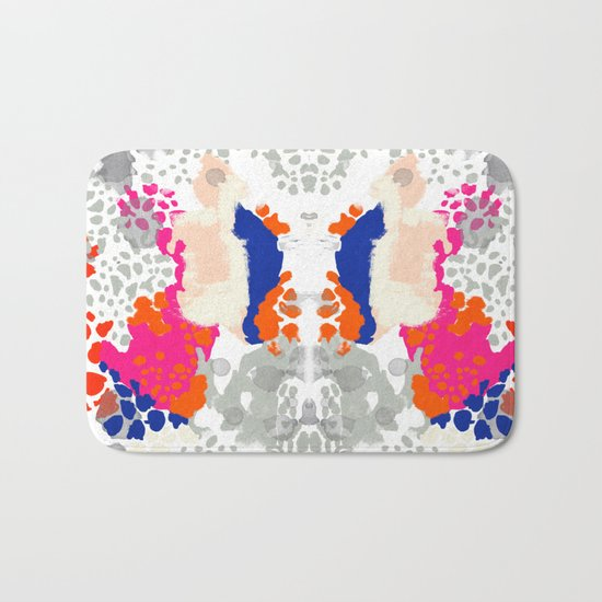 Mica - Abstract painting in modern fresh colors navy, orange, pink, cream, white, and gold Bath Mat