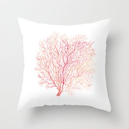 Red coral sea fan Throw Pillow