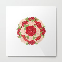 Red and Beige Roses Metal Print