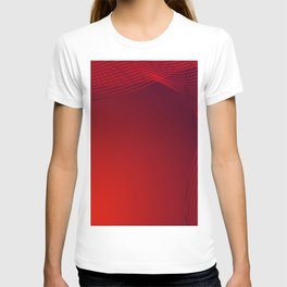 Greeting card of red lines made of smoke on a claret background. T-shirt