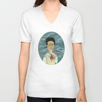 frida kahlo V-neck T-shirts featuring Frida Kahlo by Chris Talbot-Heindl